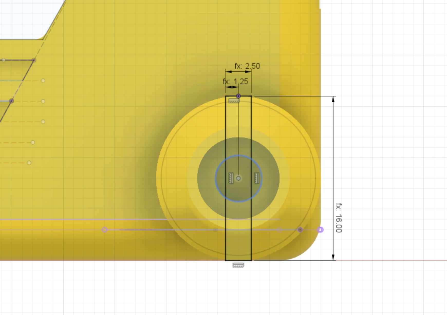 Chassis stub wheel cutout profile Cad Drawing