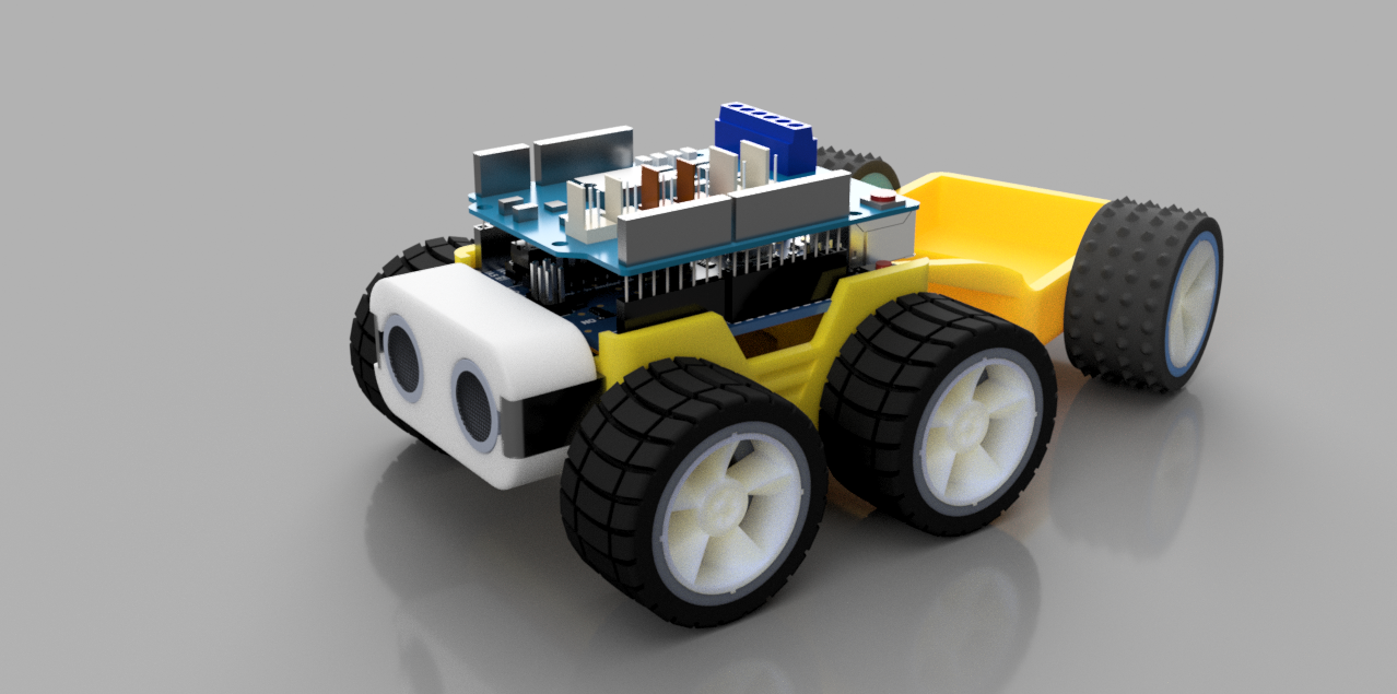 Rendered image of a SMARS robot with trailer